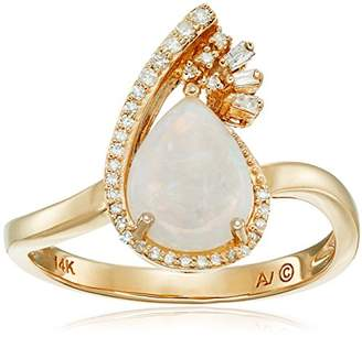 14k Yellow Gold Pear Opal Framed with Diamonds Ring (1/10cttw