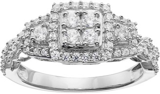 Vera Wang Simply Vera 14k White Gold 5/8 Carat T.W. Diamond Cluster Halo Ring