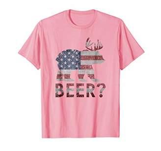 Beer? Bear And Deer Drunk Drinking American Flag Cool Tshirt