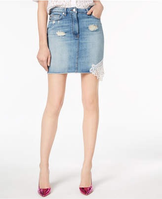 Love Moschino Cotton Crochet-Appliqué Denim Skirt