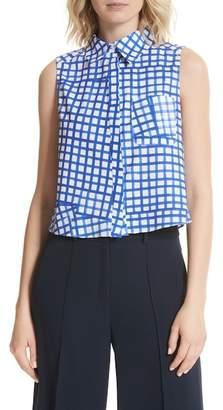 Milly Leah Tie Back Stretch Cotton Blouse