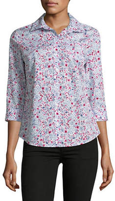 Karen Scott Petite Plus Daisy Cotton Button-Down Shirt