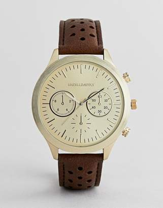 Asos DESIGN classic watch with perforated strap and subdials in tan and black