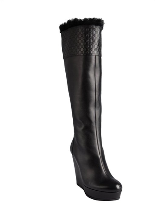 Gucci black leather 'Courteney' tall platform wedge boots
