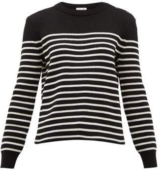 Saint Laurent Breton Stripe Cotton Blend Sweater - Womens - Black White