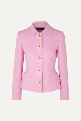 Dolce & Gabbana Embellished Wool-crepe Blazer - Pink