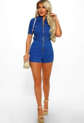 abd53d62737 Pink Boutique Nashville Bright Blue Denim Belted Playsuit