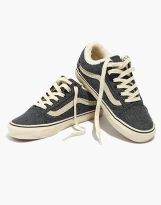 Madewell x Vans Old Skool Lace-Up Sneakers in Flannel and Sherpa