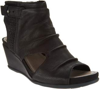 Earth Ruched Leather Peep-Toe Wedge Sandals - Sweetpea