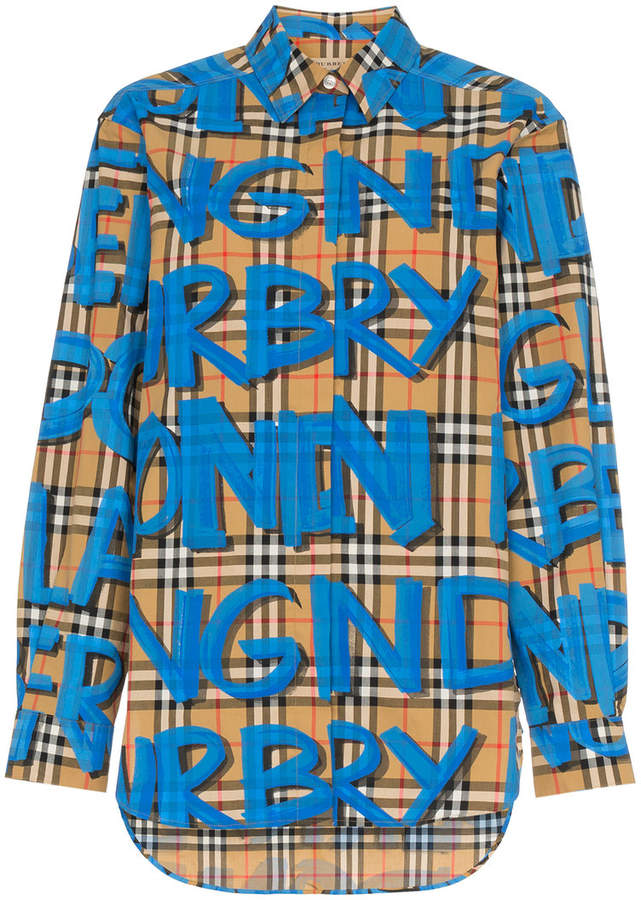graffiti print vintage check shirt