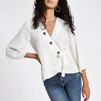 River Island Womens White wrap horn button blouse