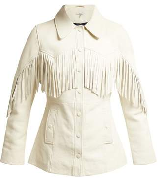Ganni Angela Fringed Leather Jacket - Womens - White