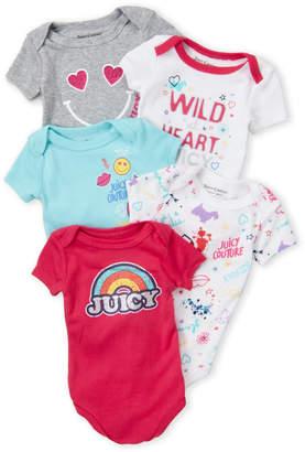Juicy Couture Newborn Girls) 5-Pack Short Sleeve Bodysuit