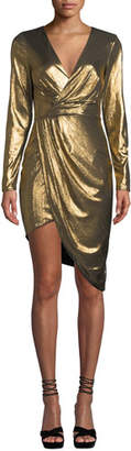 Ryse Violet Metallic Long-Sleeve Cocktail Dress