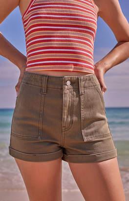 PacSun General Green Utility Denim Mom Shorts