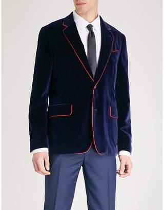 Alexander McQueen Contrasting-piping regular-fit velvet jacket