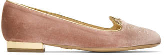 Charlotte Olympia SSENSE Exclusive Pink Velvet Kitty Slippers