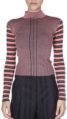 McQ Pink High Collar Striped Jumper