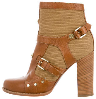 Mulberry Buckle-Embellished Ankle Booties $200 thestylecure.com