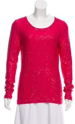 Oscar de la Renta Sequined Scoop Neck Sweater