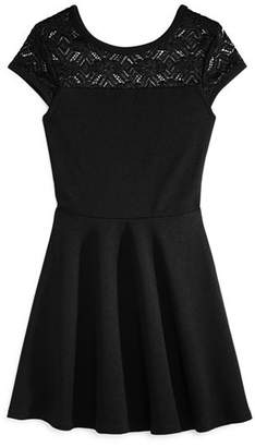 Aqua Girls' Textured Contrast Lace Dress, Big Kid - 100% Exclusive