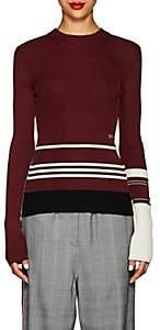 Calvin Klein Women's Striped Mixed-Knit Sweater-Burgundy Ivory Black