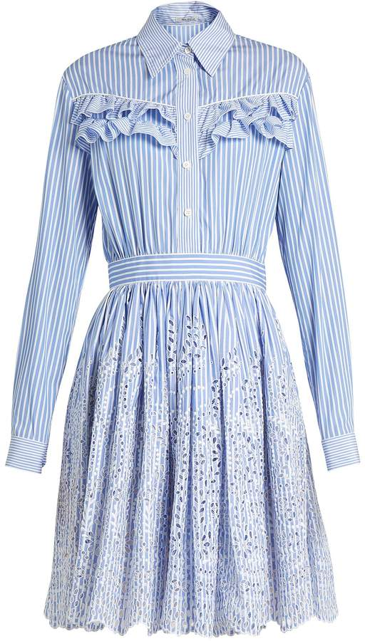 Miu Miu MIU MIU Striped ruffle-trimmed cotton-poplin dress