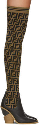 Fendi Black Forever Cowboy Over-The-Knee Sock Boots