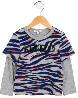 Kenzo Boys' Tiger Print Long Sleeve Shirt