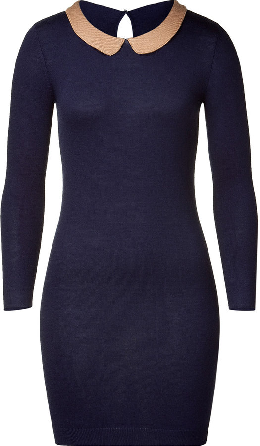 Maje Navy Knit Dress with Peter Pan Collar