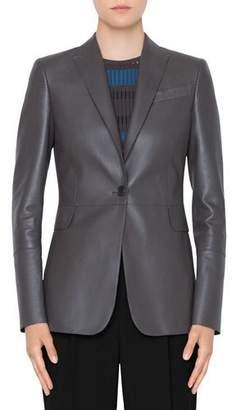 Akris Punto Perforated Leather Blazer Jacket