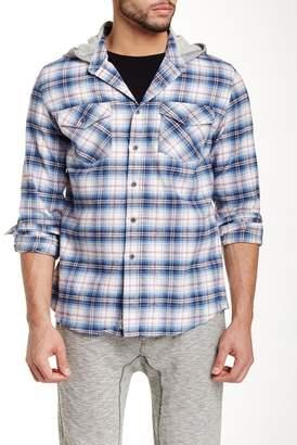 Micros Bryan Hooded Plaid Long Sleeve Regular Fit Shirt