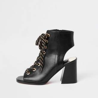 River Island Black lace-up block heel shoe boots