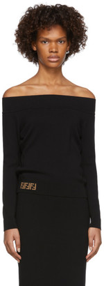 Fendi Black Forever Off-The-Shoulder Sweater