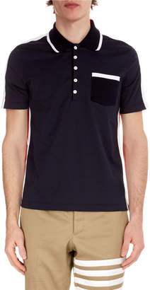 Thom Browne Men's Bi-Color Cotton Polo Shirt