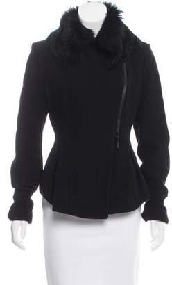 Plein Sud Jeanius Fur-Trimmed Wool Jacket