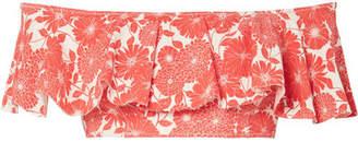 Lisa Marie Fernandez Mira Flounce Off-the-shoulder Printed Bikini Top - Tomato red