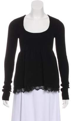 Robert Rodriguez Lace-Trimmed Cashmere Top