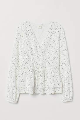 H&M Wrapover Cotton Jersey Blouse - White