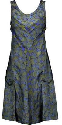 Maison Margiela Pleated Printed Organza And Satin Mini Dress