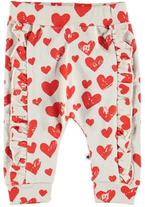 Molo Safira Heart Print Ruffle-Trim Sweatpants, Size 3-24 Months