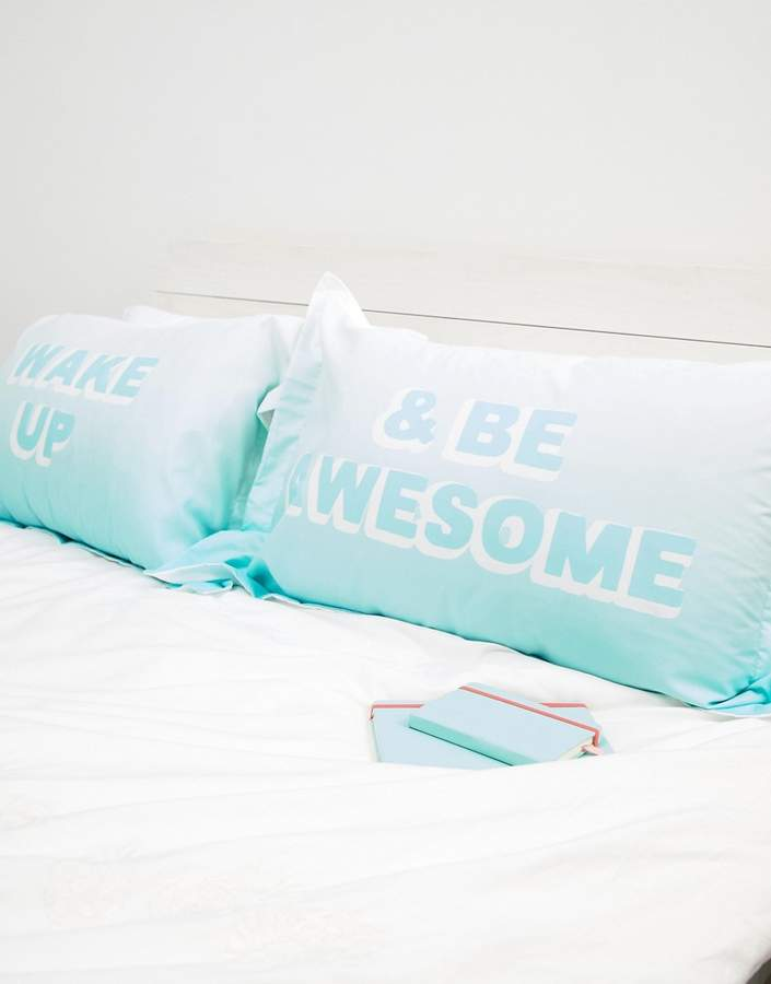 TYPO Typo Wake Up and Be Awesome Pillowcase Set