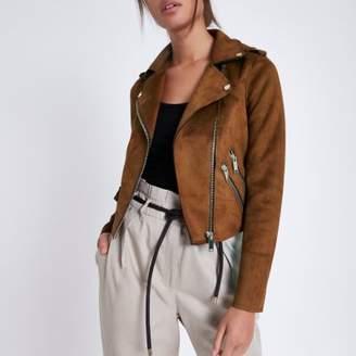 River Island Womens Tan faux suede biker jacket