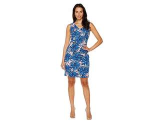 Ellen Tracy Printed Crepe Jersey Dress with V-Neckline Women's Dress