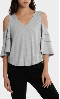Tee cold shoulder with ladder stitch