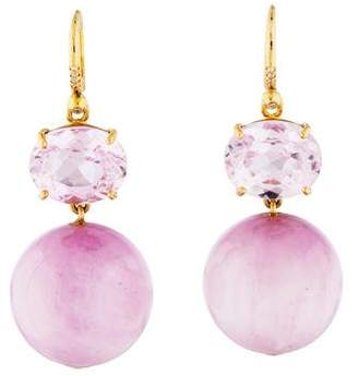 Irene Neuwirth 18K Kunzite & Diamond Evening Drop Earrings