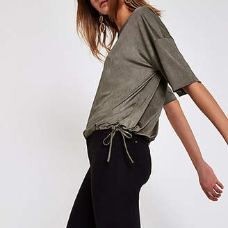 River Island Khaki short sleeve elastic top