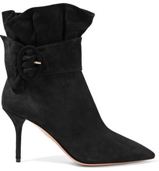 Aquazzura Palace Ruffled Suede Ankle Boots - Black