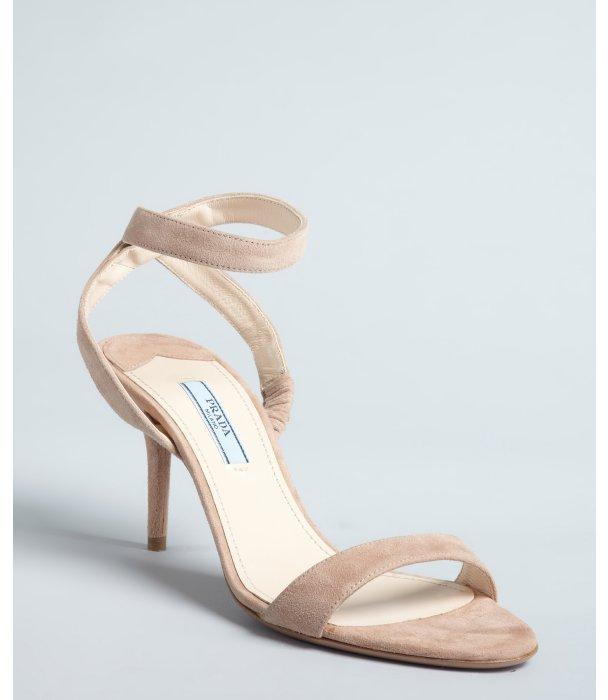 Prada nude suede ankle strap sandals