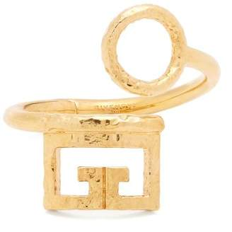 Givenchy Logo And Circular Cut Out Cuff - Womens - Gold